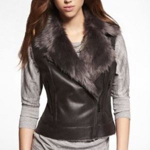 NWT Express fur and leather vest xs